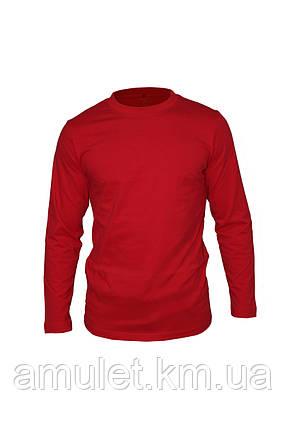 Футболка чоловіча з довгим рукавом, червона XXL, фото 2