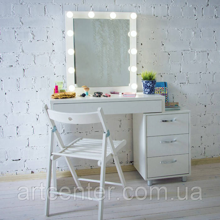 Белый визажный стол с тумбой и зеркалом, гримерный стол, туалетный стол