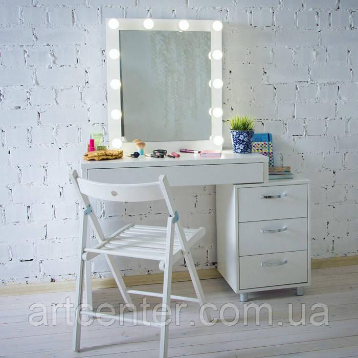 Білий визажный стіл з тумбою і дзеркалом, гримерный стіл, туалетний стіл