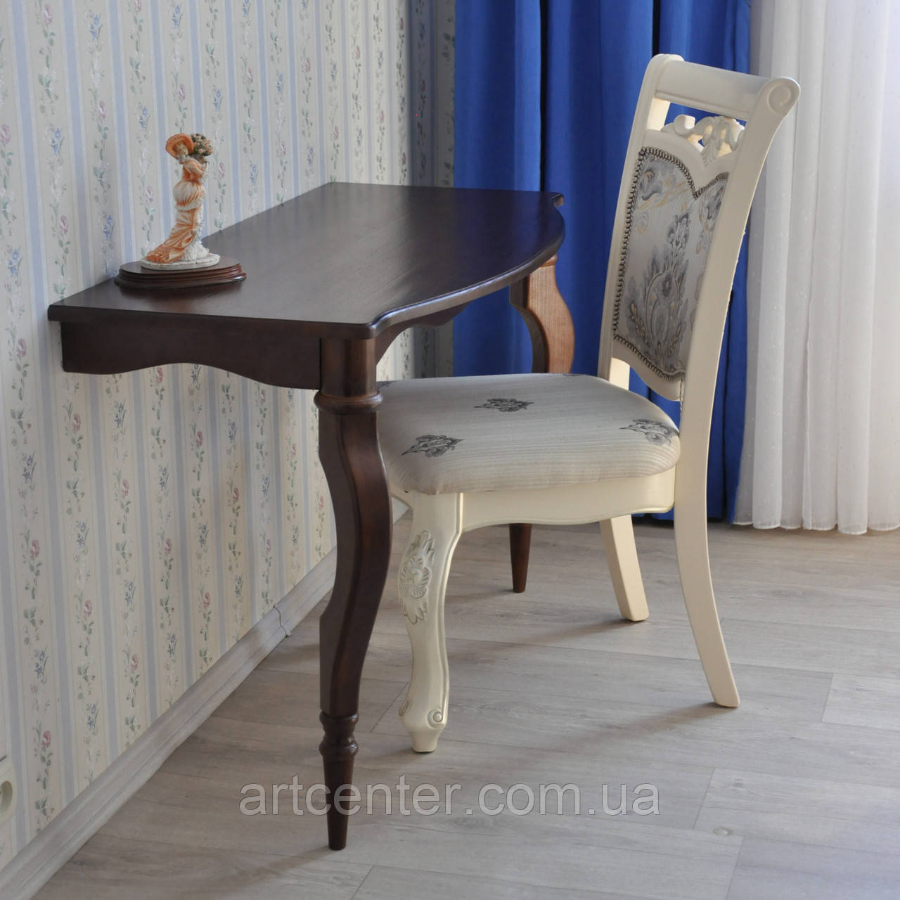 "Приставний столик на точених ніжках, консоль ""Прованс"", коричневий, туалетний столик"