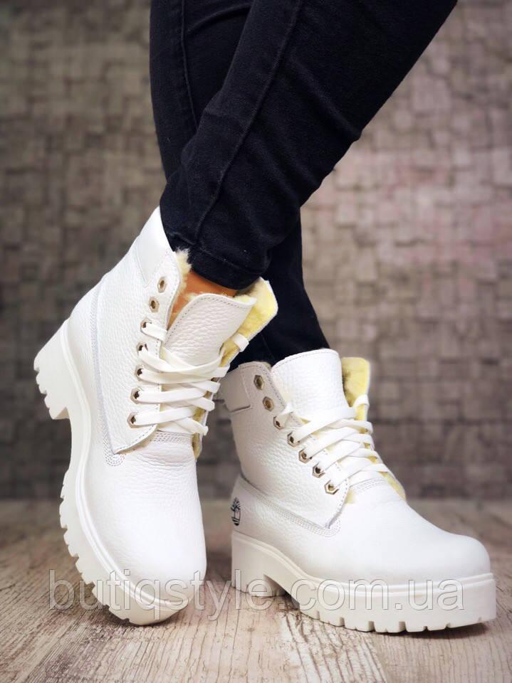 37 размер! Зимние ботиночки в стиле T//mberl@nd на шнуровке белыенатуральная кожа