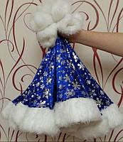 Новогодний колпак  принт снежинка синий, фото 1