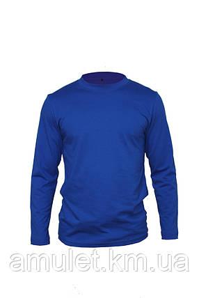 Футболка з довгим рукавом синя, L, фото 2