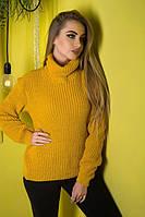 Свитер вязаный женский с отворотом желтый., фото 1