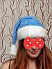 Новогодний колпак меховой тёплый голубой