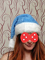 Новогодний колпак меховой тёплый голубой, фото 1
