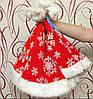 Новогодний колпак меховой тёплый принт Снежинка красный