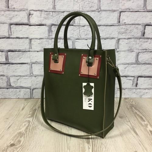 Оригинальная сумка шоппер из натуральной кожи, хаки/коралловый/розовый 1799