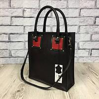 Оригинальная сумка шоппер из натуральной кожи, чёрный портофино /зелёный/красный портофино 1799