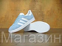 Женские кроссовки Adidas Originals Gazelle OG Clear Sky Адидас Газели голубые, фото 2