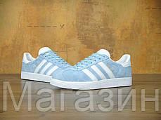 Женские кроссовки Adidas Originals Gazelle OG Clear Sky Адидас Газели голубые, фото 3