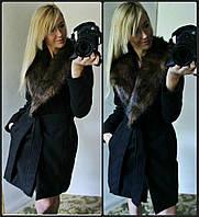 """Женское пальто кашемировое с меховым воротом """"Вамп"""""""
