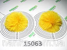 Меховой помпон Кролик, Желток, 8 см, пара 15063, фото 3