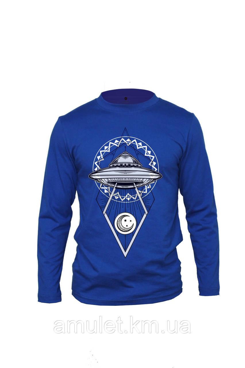 """Лонгслив футболкая з довгим рукавом синя""""НЛО"""""""