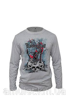 """Лонгслив  футболкая с длинным рукавом серая """"Гитары"""", фото 2"""