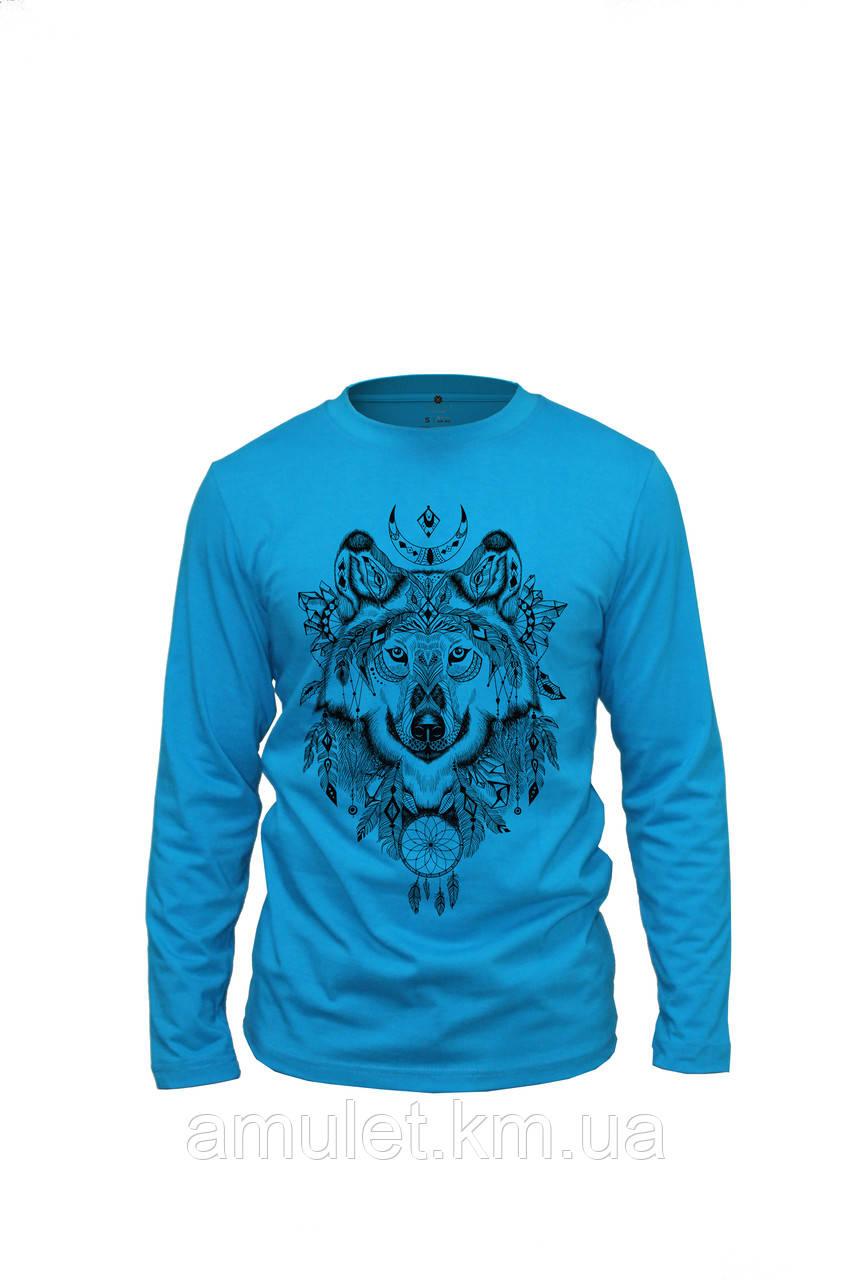 """Лонгслив футболкая з довгим рукавом блакитна """"Вовк"""""""