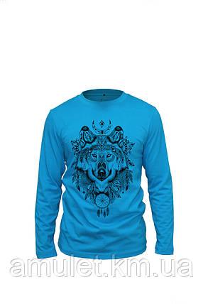 """Лонгслив футболкая з довгим рукавом блакитна """"Вовк"""", фото 2"""