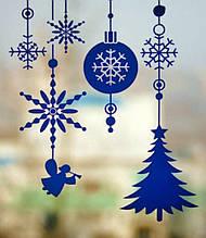 Новогодняя наклейка на окно - (30х50 см)