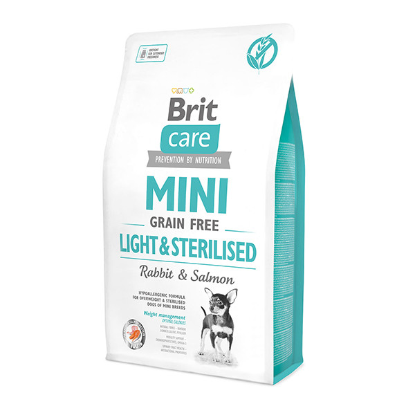 Корм для стерилизованных собак мини пород, контроль веса с лососем, Brit Care Light&Sterilised 0,4кг