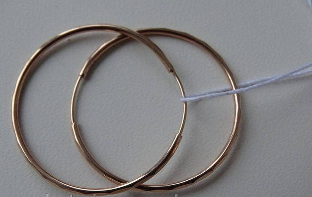 Золотые серьги кольца - конго 35 мм