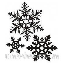 Новогодняя наклейка на окно белая -3шт  (25х25см)