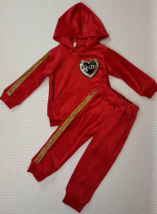 Детский ТЕПЛЫЙ велюровый костюм  р.86-110 красный, фото 2