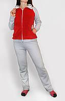 Спортивный костюм женский серый утепленный трехнитка с красными вставками опт