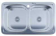 Мойка для кухни врезная две чаши прямоугольная 790 х 480 х 175/180 IMPERIAL 0,8 глянцевая