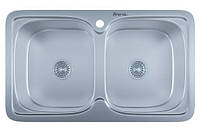 Мойка для кухни врезная две чаши прямоугольная 790 х 480 х 175/180 IMPERIAL 0,8 декор