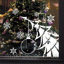 Новогодняя наклейка на окно - елка (цена за размер 44х60 см)