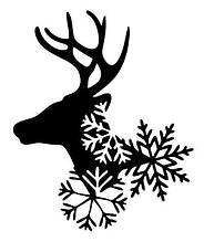Новогодняя наклейка на окно белая- Олень снежинки 30х24 см