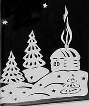 Новогодняя - Заснеженый домик 50х50 см