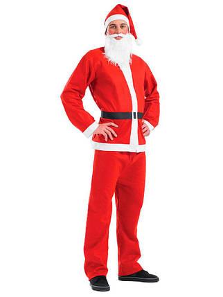 Маскарадный костюм Санта Клауса красный карнавальный комплект штаны, пиджак, фото 2