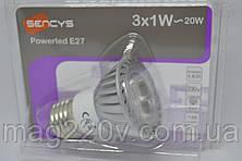 Светодиодная лампа Sencys 3x1W (20 Вт)/ 2700 К/ E27