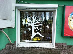 Новогодняя наклейка на окно - домик  новогоднее дерево 75х60