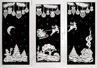 Новогодняя наклейка на окно - Новогодняя сказка на окно 117х50 см х 3 шт