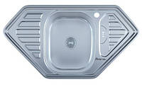Мойка для кухни врезная угловая трапеция  950 х 500 x 175/180 IMPERIAL 0,8 декор