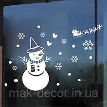 Новогодняя наклейка на окно - набор снеговик снежинки сердечки 65х45 см