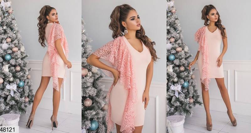 Красивое платье мини облегающее без рукав с кружевом персикового цвета, фото 2