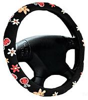 Чехол на руль черный  с цветами (beetle) размер М Elegant Plus EL 105515