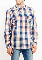 Мужская клетчатая рубашка с длинным рукавом Big chech shirt от Mustang jeans в размере M