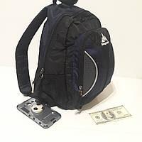 Качественный городской рюкзак 18 л One polar W1297 небольшой черно-зеленый синий
