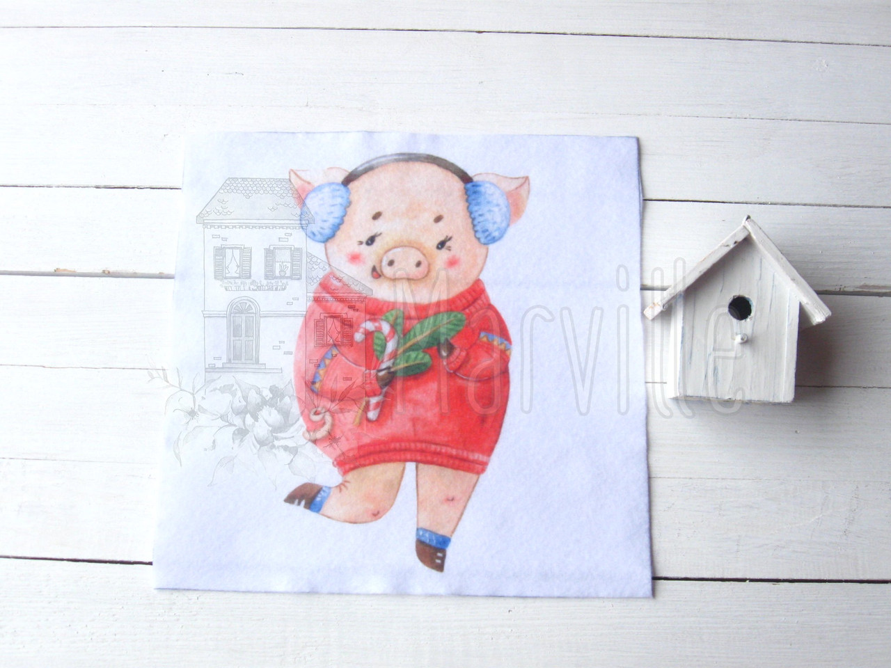 """Фетр мягкий с рисунком """"Панелька: Свинка в наушниках акварель""""  20х20см"""