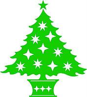 Новогодняя наклейка - елка в горшке
