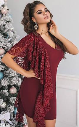 Вечернее платье короткое облегающее без рукав с кружевом бордовое, фото 2