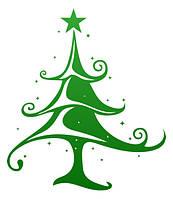 Новогодняя наклейка - елка узор