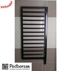 Немецкий полотенцесушитель электрический Zehnder Subway Inox, черный, с черным программируемым ТЭНом