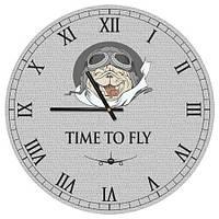 Настенные часы круглые Time to fly 36 см (CHR_P_DOG012)
