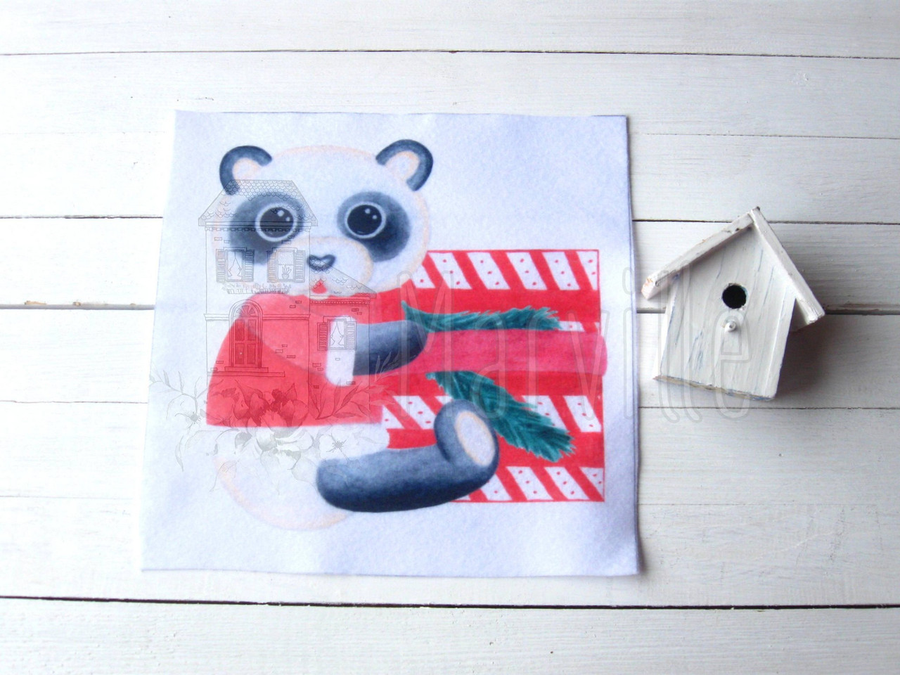 """Фетр мягкий с рисунком """"Панелька: Панда с подарком акварель""""  20х20см"""