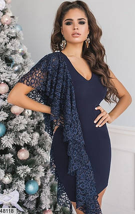 Элегантное платье выше колен по фигуре без рукав кружево темно синее, фото 2